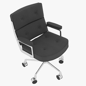 3D Eames Executive Chair Chrome Frame Charcoal Fabric