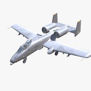 3D model A-10 Thunderbolt Jet Fighter Aircraft Low-poly 3D model