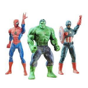 3D Three superhero toys model