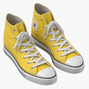 Basketball Leather Shoes Yellow 3D