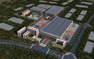 development zone industrial chemical warehouse workshop area have a bird eye view of fac 3D