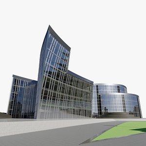 Wavy office buidling 3D model