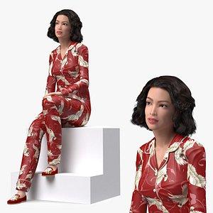 3D Asian Woman wearing Satin Pijama Sitting Pose