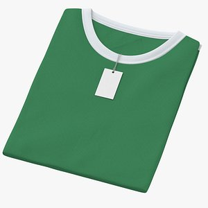 Female Crew Neck Folded With Tag White and Green 02 3D model