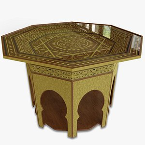 3D Moroccan Traditional Octagonal Table  - Reduced Poly Version