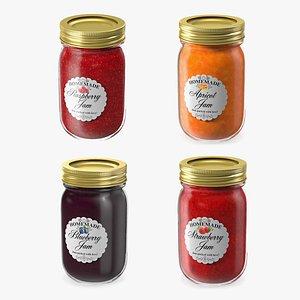 3D Fruit Jam Jars Collection model