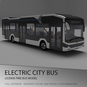 3D man bus city lion
