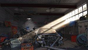 3D Old Garage Scaned Scene model