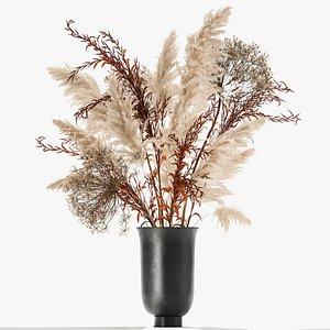 Bouquet of dried flowers in a vase 171 3D model