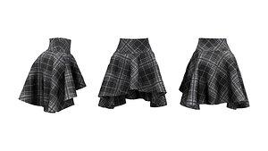 3D High Waist Hem Short Skirt