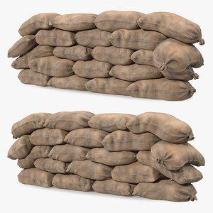 3D Sandbag Wall Dirty model
