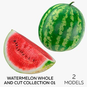 3D Watermelon Whole and Cut Collection 01 - 2 models