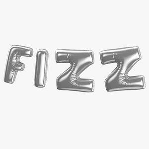 Foil Baloon Words FIZZ Silver 3D