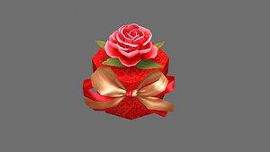 Cartoon wedding gift box - Candy Box - Red round gift box 3D model