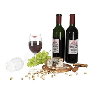 3D model wine cheese pistachios