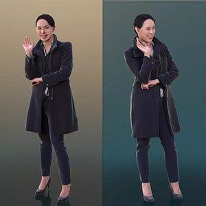 10273 Bao - Casual Woman In Black Coat Waving 3D model