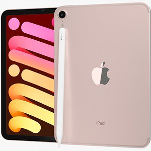 3D Apple iPad mini 2021 6th gen WiFi and Cellular with Pencil Pink