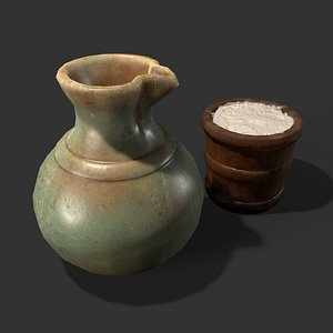 Medieval Clay Jug Wood Pail 3D model