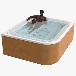 3D African American Man in Jacuzzi Virtus Hot Tub Rigged model