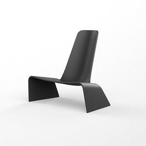 3D model Plank land armchair black plastic