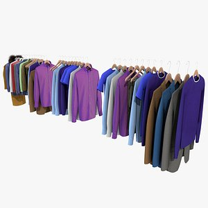 3D A COLLECTION OF CLOTHES ON HANGERS