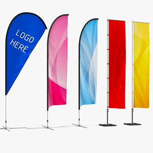 3D real flag banners