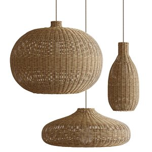 Chandeliers with wicker rattan lampshades by Ferm Living 3D model