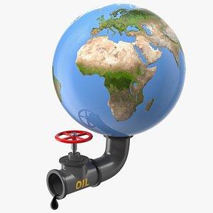 3D model earth stylized oil tube