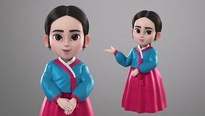 3D model cartoon korean hanbok girl