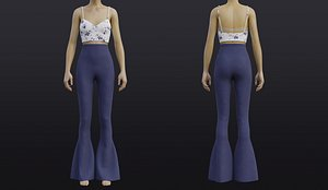 Cami top and Bell-Bottom Denim pants set outfit model