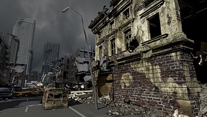 3D Ruined city  Destroyed Building model