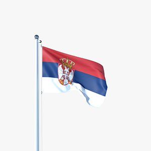 3D model Animated Flag of Serbia