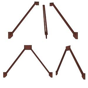 3D 2 Models Industrial Platforms  Stairs 01 Set Arc model