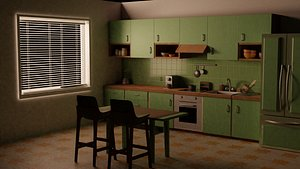 3D wood kitchen