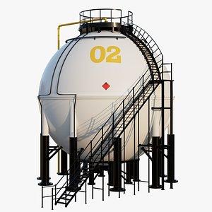 3D model industrial storage tank