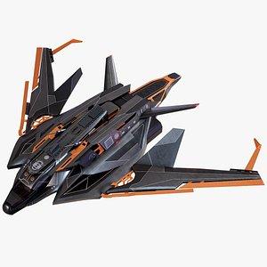 Sci Fi Spaceship Light Fighter Rigged PBR model