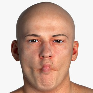 3D Real PBR Marcus Human Head Cheek Suck AU35