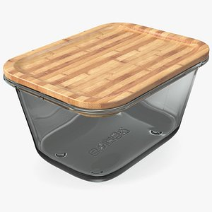 Rectangular Glass Food Container with Bamboo Lid 1800ml 3D