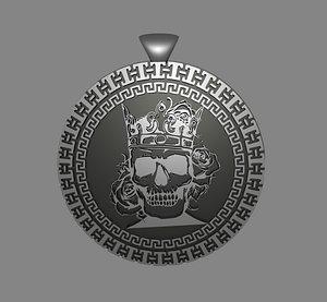3D skull pendant model