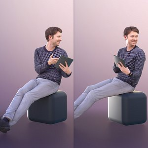 3D model 11300 John - Casual Sitting Guy Showing His Tablet