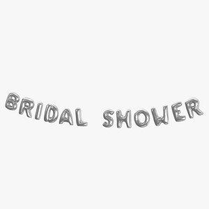 Foil Baloon Words Bridal Shower Silver 3D model