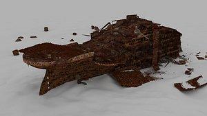 Titanic stern Low-poly 3D model