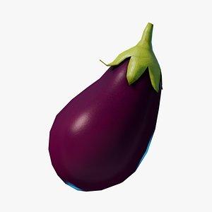 Cartoon Eggplant 3D model