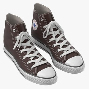 Basketball Leather Shoes Brown 3D