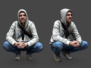 3D Guy Squatting model
