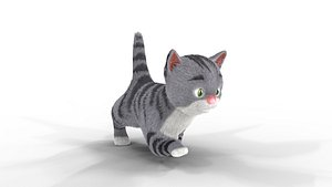 3D model Cute Fur Kitten Gray Animated