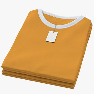 3D Female Crew Neck Folded Stacked With Tag White and Orange 02