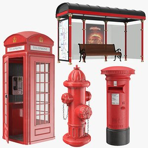 London Street Elements Collection 3D model