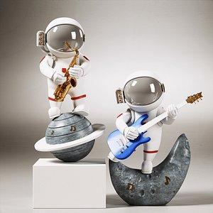 astronaut decoration set 3D model