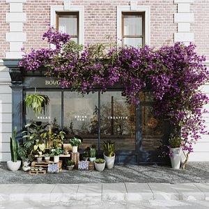 Flower Shop Exterior Scene 3D model